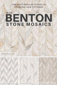 New Benton Stone Mosaics in Braid pattern. Tiles come in Calacatta Borghini, Carrara/White Thassos, White Thassos/Shell, and Athens Silver Cream.
