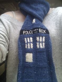 Check out this Tardis knit scarf found on Ravelry.  A great project for Wool-Ease or Vanna's Choice.