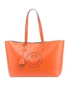 ANYA HINDMARCH Ebury Smiley Large Shopper Bag, Orange. #anyahindmarch #bags #shoulder bags #lining #suede #