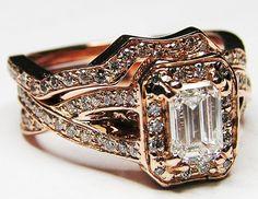 Pink Gold Emerald Cut Diamond twisted Band Engagement Ring & Matching Wedding Band Bridal Set - ES359RGBS