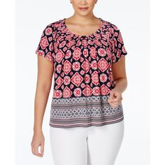 Style & Co. Short-Sleeve Printed Blouse, ($25) ❤ liked on Polyvore featuring tops, blouses, american scarf, style&co tops, short sleeve blouse and short sleeve tops