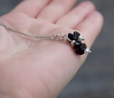Dangle threader earrings seed pearls black by ThePillowBook, $48.00
