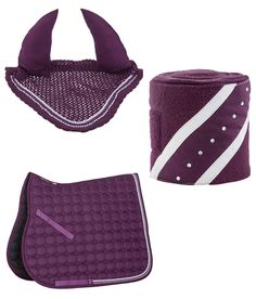Diamond Set In Plum  Buy a Matching Set and Save!   This great quality set includes saddle blanket, ear bonnet and bandages  Beautiful crocheted fly veil Cord in a contrasting colour and a rhinestone border Ears: 100% Cotton Crochet Material: 100% Polyester Washing: Washable to 30°C   Anatomically shaped saddle pad with exceptional quilting Rhinestones along the double cord trim make the saddle pad stand out Quick drying material Dressage size approx: 61 x 54cm All purpose size approx: 58 x…