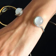 Open bracelets are bang on trend this year, such as this Noor Fares Tilsam moonstone grey gold cuff with white diamonds. Discover our top 5 fashion bangles and bracelet gift ideas for the stylish lady: http://www.thejewelleryeditor.com/jewellery/top-5/top-5-bangles-and-bracelets-christmas-gift-guide/ #jewelry