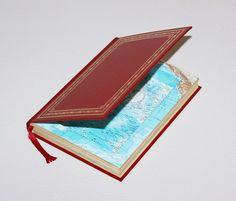 """Kisten & Boxen - Rote Buchbox """"Landkarte"""" - ein Designerstück von Buchkiste bei DaWanda. Buch upcycling, Basteln mit Büchern"""