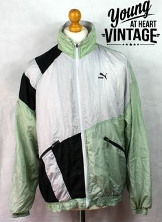 Vintage 90s Puma Tracksuit Jacket Retro Mens Size Medium 38-40 Green Silver