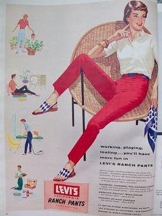 1956 Ad for Levi's-Coloured Jeans/ Fashion/ Vintage Advertising Retro Advertising, Retro Ads, Vintage Advertisements, Vintage Levis, Retro Vintage, Vintage Style, 1950s Fashion, Vintage Fashion, Fashion Pics
