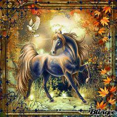 autumn unicorn by Unicorn Fantasy, Real Unicorn, Unicorn Art, Fantasy Dragon, Magical Unicorn, Fantasy Art, Elves Fantasy, Unicorn Images, Unicorn Pictures
