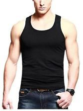 NWT Match Slim Stretch Fit Undershirt Mens Basic Tank Top Y Back Stringer BLACK