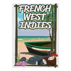 French West Indies Beach travel poster