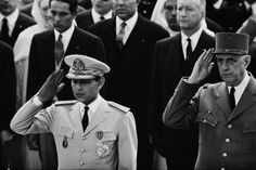 Visit of Hassan II to France  King Hassan II of Morocco is welcomed in Paris by French President Charles de Gaulle.