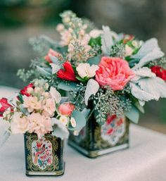 Recycle old tin cans to make rustic DIY wedding centrepieces
