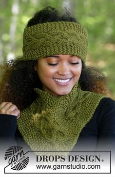 Set consists of: Knitted head band and neck warmer with garter stitch and cables. All parts are knitted in DROPS Eskimo. Knitted Headband Free Pattern, Beanie Knitting Patterns Free, Crochet Wrap Pattern, Crochet Poncho, Knit Patterns, Crochet Hats, Free Knitting, Bandeau Crochet, Drops Design