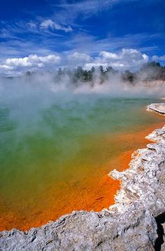 Rotorua - Waiotapu, I think. magical - the edge of the lake is all sulphur encrusted and, yes, it's hot! The Places Youll Go, Places Ive Been, Places To Go, Tasmania, The Beautiful Country, Beautiful Places, Rotorua New Zealand, What A Wonderful World, Heaven On Earth
