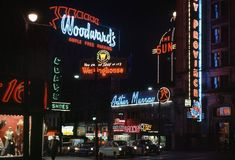 Fred Herzog, Arthur Murray, 1960. Night neon signs downtown.