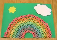 rainbow made out of fruit loops for preschool craft