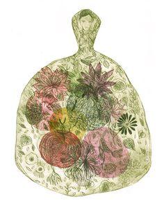 Valérie Belmokhtar Original Etching on paper - Drypoint - Printmaking - Gravure sur papier Robe-Jardin - Garden Dress de la boutique ValerieBelmokhtarArt sur Etsy