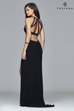 Long halter matte jersey dress with beaded bands | Faviana Style 7929