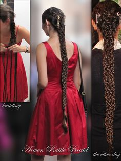 Arwen's Battle Braid; the scene in the Lord of the Rings movie where she was wearing this was taken out.  It is seven braids, that are then braided together like a friendship bracelet.