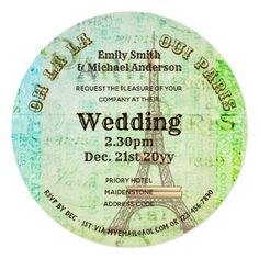 Paris Wedding Invite Vintage Parchment ROUND GREEN - invitations custom unique diy personalize occasions