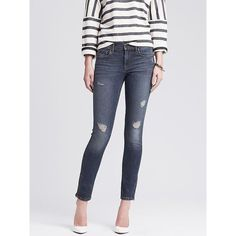 Banana Republic Womens Distressed Wash Skinny Ankle Jean Size 8 Petite... ($70) ❤ liked on Polyvore