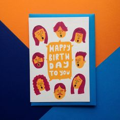 Illustrated Happy Birthday Greetings Card - greeting card, happy birthday card, singing card £2.50  Designed by Alex Carruthers