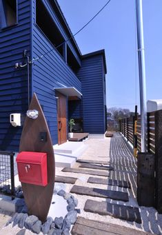 Navy Blue Houses, Front Entrances, California Style, Surfboard, Life Hacks, Home, Design, Stairway, Country