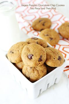 Healthy Pumpkin Chocolate Chip Cookie Recipe on twopeasandtheirpod.com Love these healthy pumpkin cookies! #cookies #pumpkin