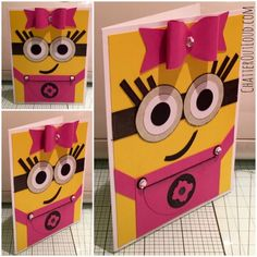 "Chatter Out Loud®: Preview ""Girl Power! Minion Inspired Card"" #minions #blogger #cardmaking Despicable Me - girl minion card"