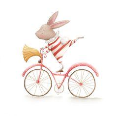 Un lapinot à vélo! On aime beaucoup ce travail de Rosie Butcher.  Venez nous visiter au Crackpot Café pour réaliser votre prochain projet de peinture sur céramique!
