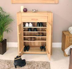 hallway shoe rack:foxy palma solid chunky oak hallway furniture shoe storage cabinet