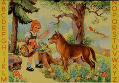 Rotkäppchen und der Wolf auf einer Schutzhülle für die Schiefertafel, um 1955