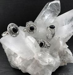 Two things we never get tired of clear crystal quartz and sterling silver rings #crystals #crystal #sterlingsilver #silver #silverring #ring #sterlingsilvering #onyxring #onyx #hellaholics