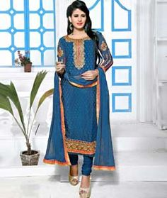 Buy Blue Brasso Georgette Churidar Suit 72599 online at lowest price from huge collection of salwar kameez at Indianclothstore.com.