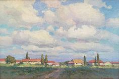 Irina Krivtsova 'Village With Grand Sky' Art School, Impressionism, Sky, Painting, Heaven, Heavens, Painting Art, Impressionist, Paintings