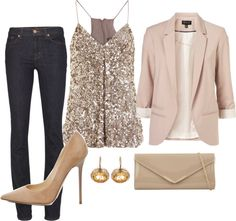 Casual New Years sequins, tan / nude blazer, skinnies, nude pumps
