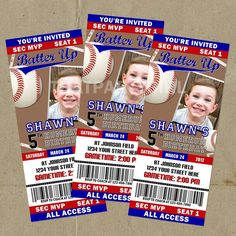 DIY Baseball Birthday Party Ticket Style Invitations - Digital U Print. $14.99, via Etsy.