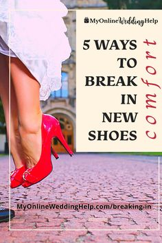 How to break in new shoes. Heels are an integral party of your wedding outfit. But can be so painful if not broken in correctly. Here are 5 ways to comfortable wedding day feet. Plus, which are safer for your shoes. Read them all on the MyOnlineWeddingHelp.com blog. Wedding Tips, Wedding Stuff, Wedding Day, New Shoes, Shoes Heels, Pumps, Bunion Pads, How To Stretch Shoes, Shoe Stretcher
