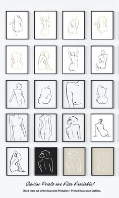 Nude Art Prints Original Figure Drawings Nude Prints Set Minimal Line Drawings Art Set Nude Figure Print Set Line Art Illustration Minimal Art, Minimal Drawings, Figure Drawing Female, Female Art, Figure Drawings, Art Drawings, Grey Art, White Art, Black Art