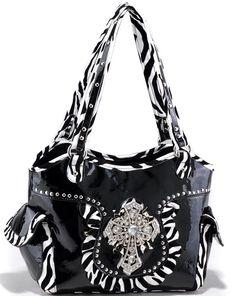 Western ZEBRA Purse Rhinestone CROSS Shoulder Bag Handbag ALYSSA - BLACK / WHITE