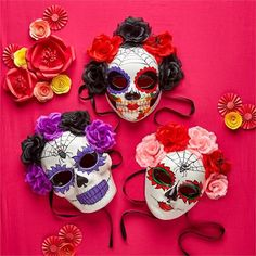 Day of the Dead Skull Paper Mache Halloween Mask, Flowers & Ribbon, Wear or Hang #TwosCompany #FolkArtDayoftheDead #Halloween