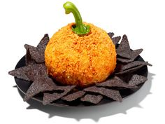 Pumpkin Cheese Ball Its rolled in crushed Doritos and makes use of a bell pepper stem as its pumpkin stem! So cute. Great fall party idea!!