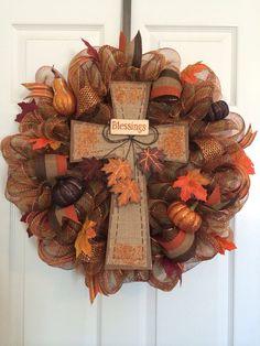 Fall Deco Mesh Wreath on Etsy, $65.00