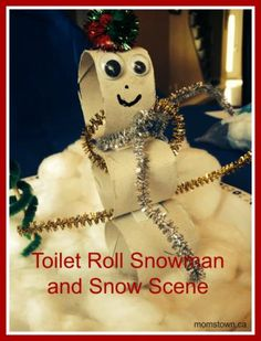 Toilet Roll Snowman Craft for Kids and snow scene! #winter #craft
