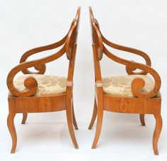 Superb Pair of Biedermeier Armchairs | From a unique collection of antique and modern armchairs at https://www.1stdibs.com/furniture/seating/armchairs/