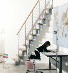 Modern Staircases to Reach the Higher Floor: Agreeable Space Saving Modern Staircases Design With Huge Map Of The World On The Wall Also Study Desk For Kids Ideas ~ promwardrobe.com Staircases Inspiration