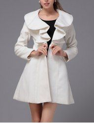 $15.28 Solid Color Fashionable Style Woolen Long Sleeves Ruffles Coat For Women