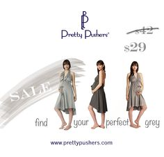 Sale on all things grey at www.prettypushers.com!  Labor gowns in One Size and Plus Size