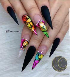 30 Great Stiletto Nail Art Design Ideas - The most beautiful nail designs Beautiful Nail Designs, Beautiful Nail Art, Gorgeous Nails, Stiletto Nail Art, Acrylic Nail Art, Coffin Nails, Hot Nails, Nagel Gel, Creative Nails