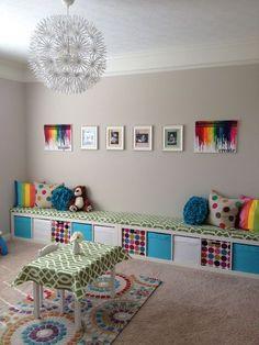 Ikea kids playroom storage ideas - Home Decor -DIY - IKEA- Before After Kids Playroom Storage, Ikea Playroom, Playroom Ideas, Ikea Nursery, Colorful Playroom, Playroom Seating, Playroom Paint, Kids Storage Furniture, Playroom Organization